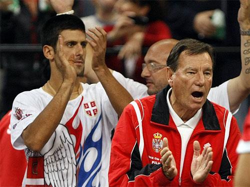 Djokovic and Pilic at the Davis Cup, 2010