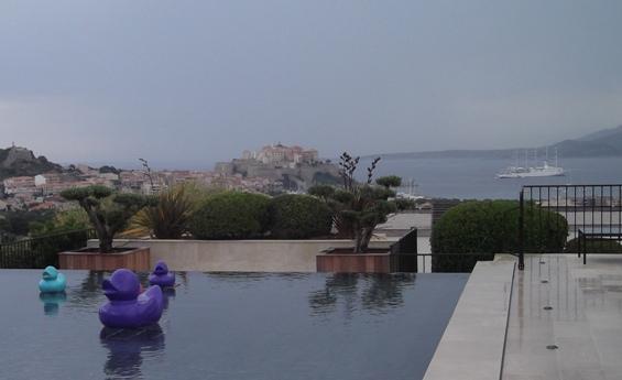 Calvi from La Villa. Club Med cruiser at bay