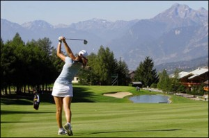 Michelle Wie plays the 14th at Crans. Casper holed out from about the same spot