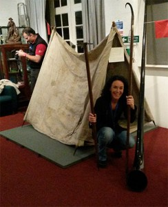 Livia Richard with  Whymper's tent, axe and alpenstock