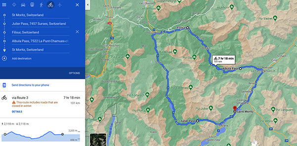 A cycling  circuit of Julier and  Albula Passes