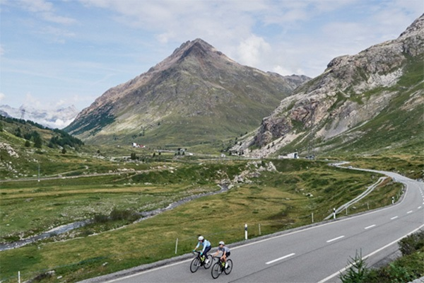 Cycling Bernina Pass approach