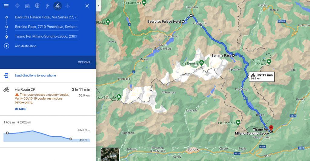 St Moritz to Tirano cycle  ride